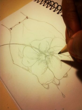 Trying to draw a flower between a person's finger.. Drawing Sketching #art #doodle Flower Pencil Sketching