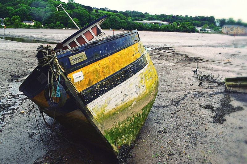 Abandoned & Derelict Old And Broken Nautical Vessel Transportation Mode Of Transport Moored Outdoors No People Dry River Seamanlife Design Built Structure Falling Apart Rope Text Cornish Life The Great Outdoors - 2017 EyeEm Awards Dry River Bed