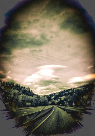 """""""Gates to the Wilderness Canyon"""" Telescopic View Split Tone Landscape_Collection Sunset_collection Other Worldly Montana Sky Canyon Road Seasons Change Love This Drive! Sundown, Nightfall, Close Of Day, Twilight, Dusk, Evening Tree Road Sky Landscape Cloud - Sky Empty Road The Way Forward vanishing point Dividing Line Winding Road Country Road"""