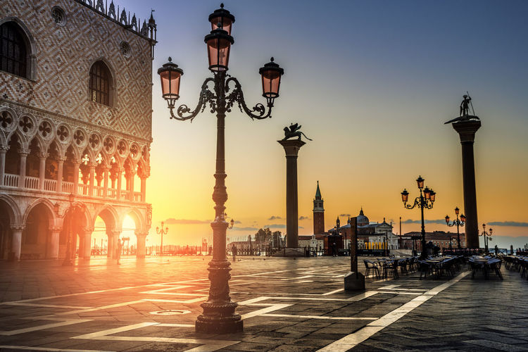Doges palace against sky during sunset in city