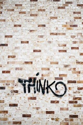 Think about it Text Communication Brick Wall Single Word No People Backgrounds Day Alphabet Close-up Outdoors Graffiti Think Inspirational