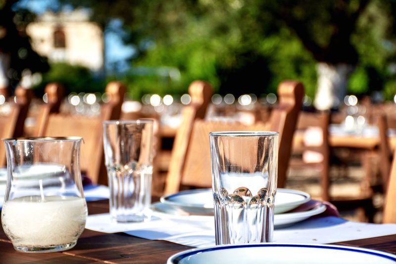 Eating utensils on table at restaurant