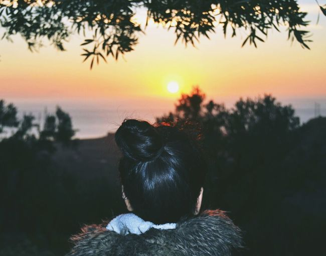 Rear view of woman looking at sunset over sea