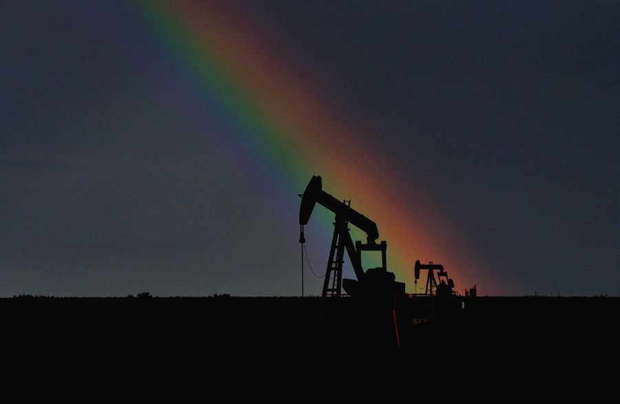 Silhouette Landscape Nature Outdoors Field This Week On Eyeem Fine Art Photography Photoart Eye4photography  Masterclass Nikonphotography Color Of Life Color Palette West Texas Pump Jack Oil Oilfield Drill Drilling Midland, TX Permian Basin Rainbow Rainbow Sky Rainbow🌈 Energy