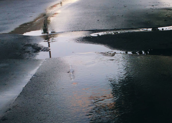 Abstract Asphalt Road Day No People Outdoors Puddle Rain Rainy Day Reflection Road Texture Water Wet