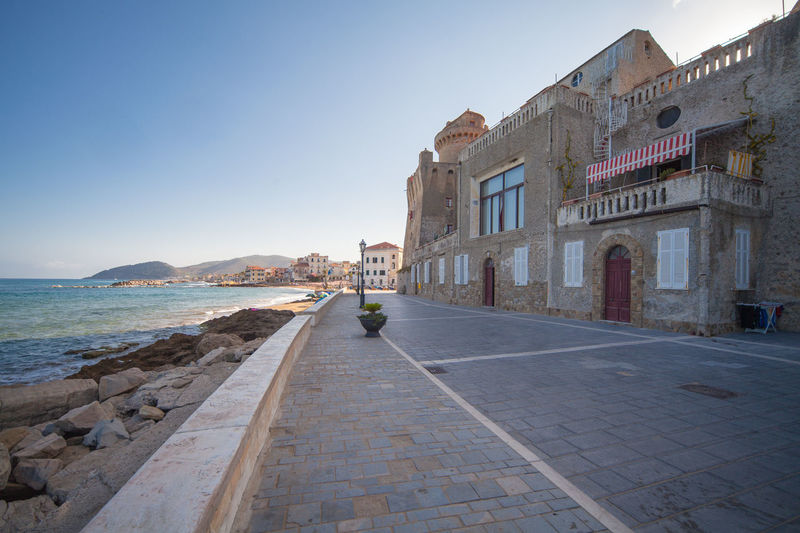 View of Castellabate town in province of Salerno Architecture Building Exterior Built Structure Campania Castellabate Clear Sky Harbor History Italy Mediterranean  Outdoors Salerno Sea Town Water