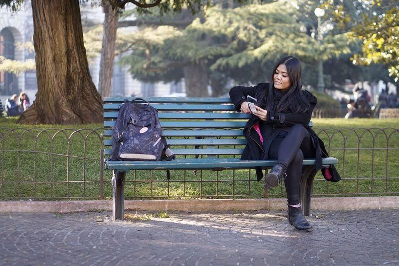 Lifestyles Siting,waiting,wishing  Using Phone Park Woman On Bench Asian Woman Relaxing Traveling Lost The Great Outdoors - 2017 EyeEm Awards