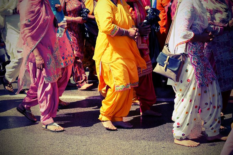 Sikh women with traditional clothes during a street parade Adult Celebration City Clothes Clothing Festival Group Of People Low Section Nagar Kirtan People Performance Real People Sikh Sikh Women Sikhism Sikhlife Street Togetherness Traditional Clothing Women