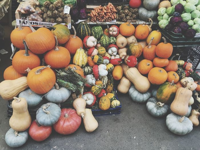 High angle view of pumpkins for sale at market stall