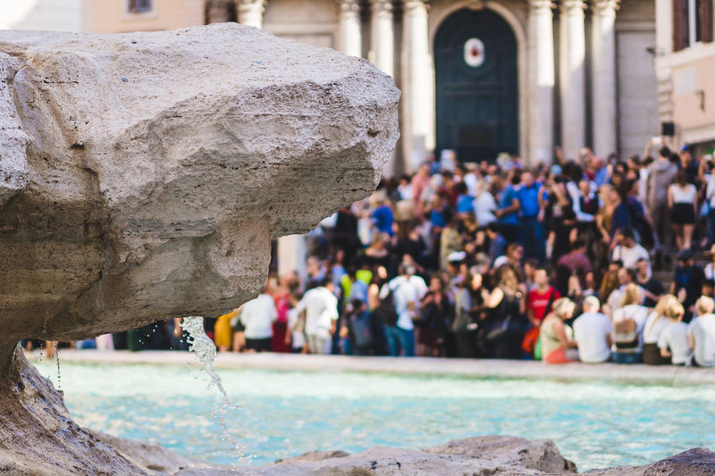 Architecture Day Focus On Foreground Built Structure Group Of People Real People Building Exterior Crowd Outdoors Large Group Of People History Incidental People Women Building The Past Spirituality Belief Religion Place Of Worship Fontana Di Trevi