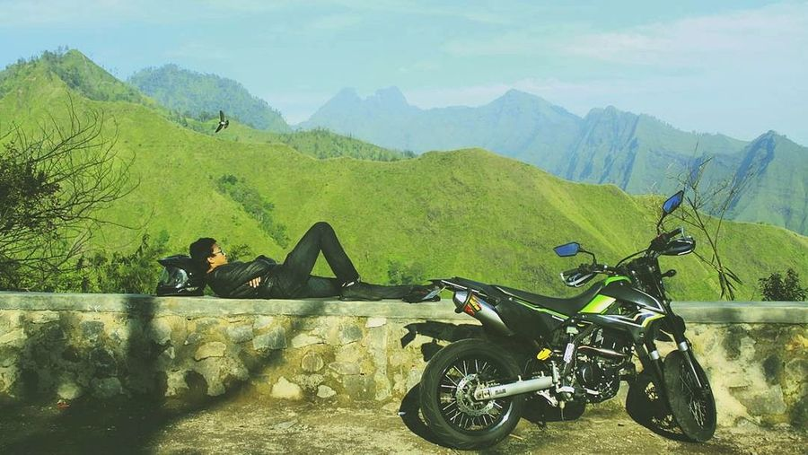 EyeEmNewHere Green Color Mountain Outdoors Landscape Nature Motorcycles Supermotoindonesia Supermoto Tree Day No People