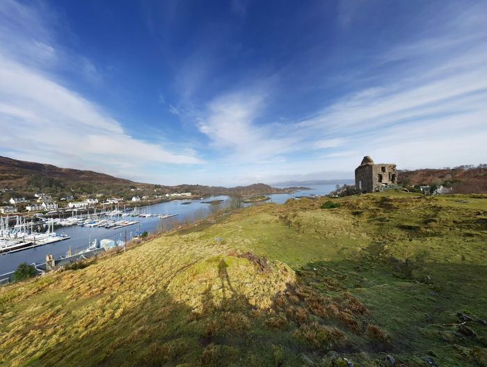 View Viewpoint Horizon Spring Scotland Loch  Loch Fyne Water Building Exterior Cloud - Sky Castle Fort Medieval Lookout Tower Tranquility Coastline Idyllic Calm