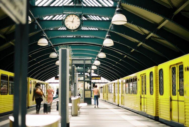 Berlin Filmisnotdead 35mm Film Canon AE-1 Filmcamera Traveling Subway Eberswalder Str. Metro Analog Leading Lines Yellow Ubahn 35mm