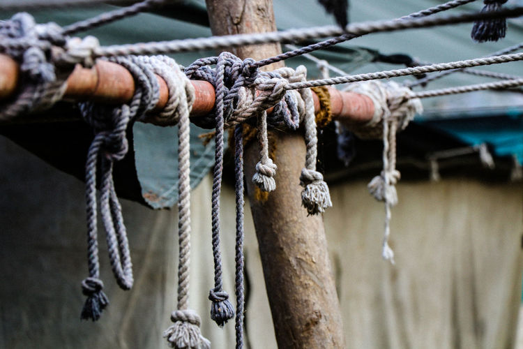 Close-up of ropes tied