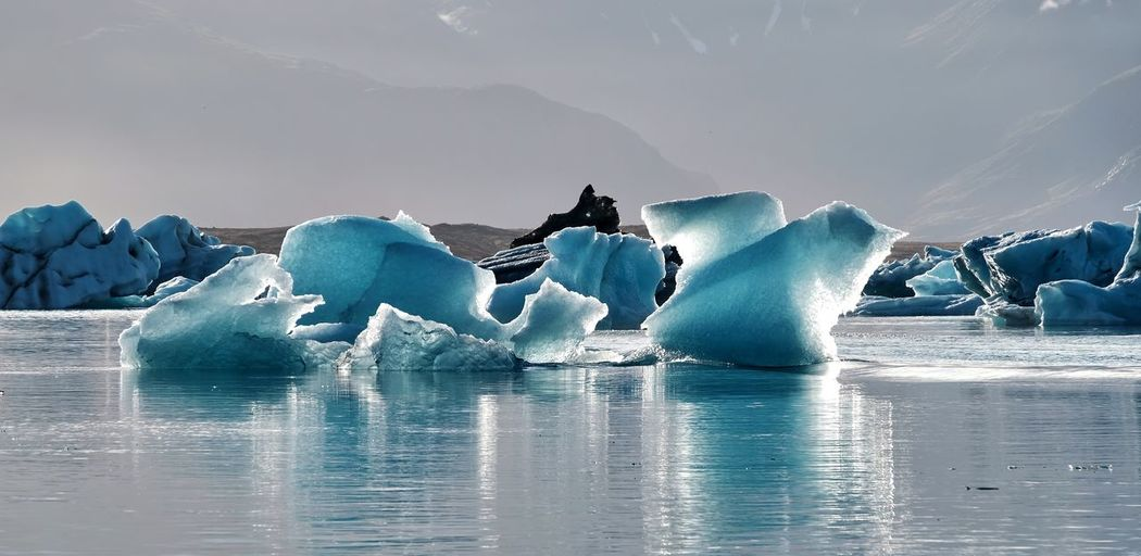 Scenic view of frozen sea against sky - iceland jökulsarlon glacierlagoon