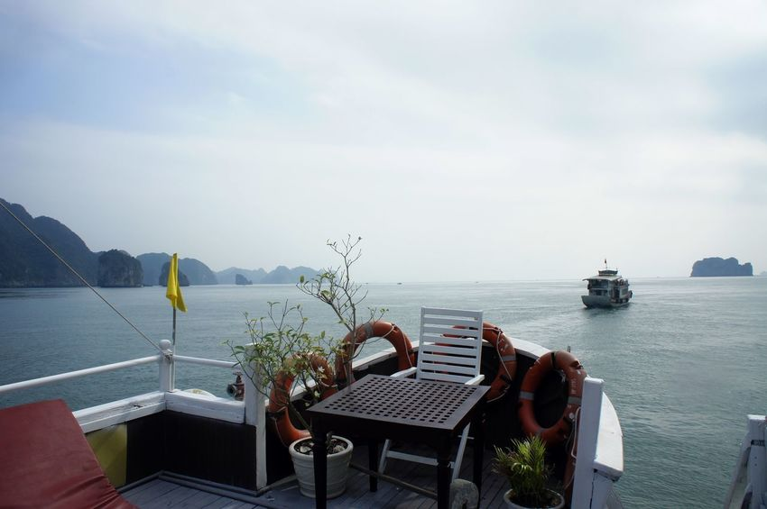 Beauty In Nature Boat Chair Day Halong Halong Bay Vietnam Halongbay Horizon Over Water Nature No People Outdoors Sailboat Sailing Scenics Sea Sky Tranquility Water