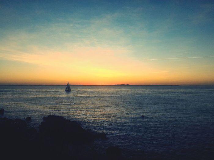 Water Sea Nautical Vessel Sunset Tranquil Scene Boat Ocean Sky Salvador Bahia Brazil Seascape Nature Beauty In Nature Faroldabarra