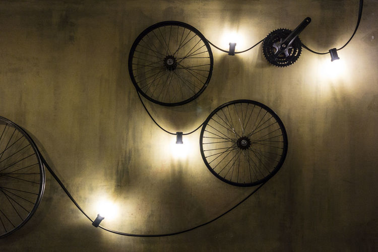 Art ArtWork Bicycle Illuminated Indoors  Instalation Lighting Equipment No People