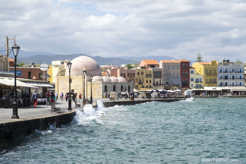 Chania Crete Chania Old Port Hassan Pascha Mosque Venetian Building Architecture Built Structure City Old Harbour Old Port Waterfront