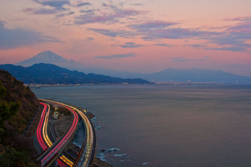 Mountain Sky Cloud - Sky Scenics - Nature Beauty In Nature Mountain Range Transportation Nature Road Water No People Non-urban Scene Motion Sunset Tranquil Scene Sea Tranquility Outdoors Land  Japan Japan Photography Highway Sunset Colors Fuji