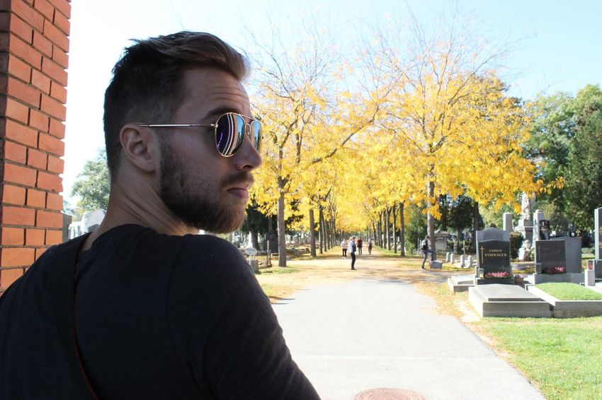 Only Men Tree People One Man Only One Person Adult Outdoors Day Adults Only Headshot Young Adult Close-up Sky Vienna Autumn Clear Sky Avenue Of Trees Zentralfriedhof Wien Bearded Man Beardlover Shootingphoto  Love Yourself