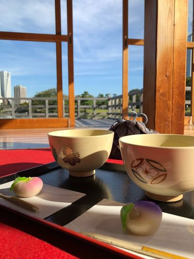 Having a tea in the garden Matcha Tea Ceremony Tradition Table Bowl Window No People Food And Drink Day Glass - Material