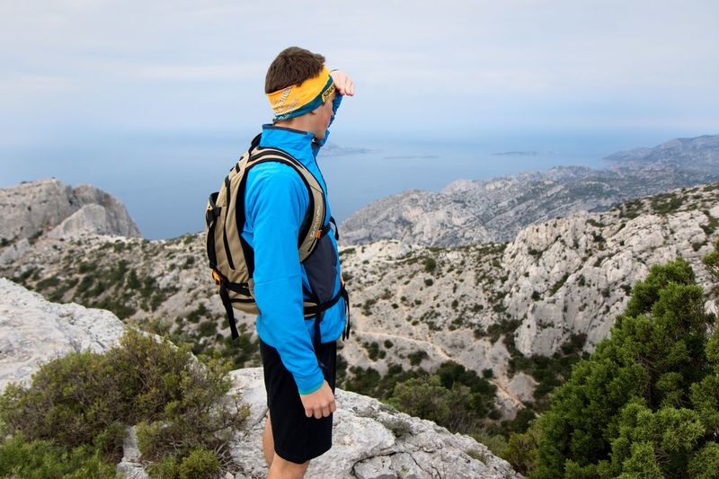 """"""" See new trails """" With my friend Nicolas in the national parc of Calanques in Marseille. Portrait Silhouette Getting Inspired EyeEm Best Shots Eye4photography  Open Edit Shootermag Landscape Nature_collection Portrait Of A Friend Trails"""