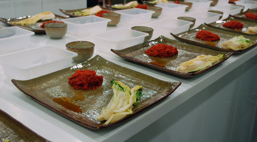 High Angle View Of Kimchee Ingredients In Plate On Table