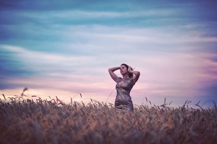 Shades of gold. Field Wheat Field Sunset Model Dress Gold Brunette Sensual_woman Sky Vintage Beautiful Woman Poland Nostalgic  Golden Slim Fit Nostalgic