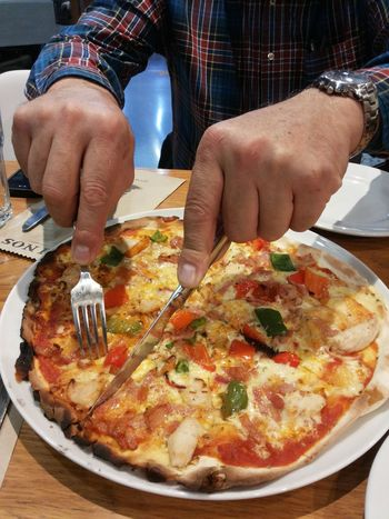 Pizza! Food Pizza Italian Food Dinner Table Dinner Fresh Fresh Baked Human Hand One Man Only Human Body Part Italian Cuisine Midsection Holding Point Of View Mobile Photography Visual Feast