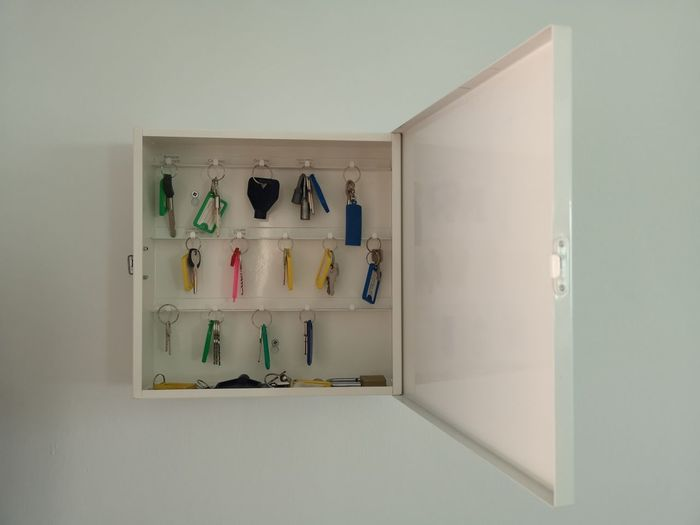 cassette with hanging key ring Domestic Room Indoors  Home Interior Container Rack Multi Colored Box Box - Container Lock Keyring Wall Tag Keys Key
