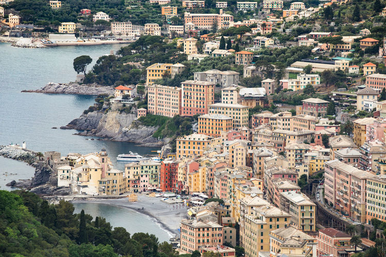 High angle view of buildings by sea at camogli