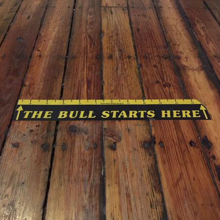 The bull starts here Slogan Lines&Design Toe The Line Starting Line Wooden Floor Darts Wood - Material Warning Sign Communication