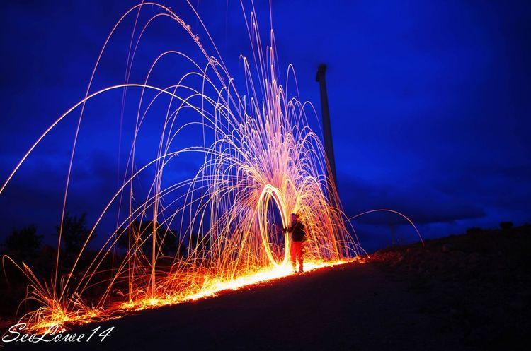 Night Long Exposure Motion Illuminated Exploding Outdoors Sky Light Trail Arts Culture And Entertainment Fire Molino De Viento
