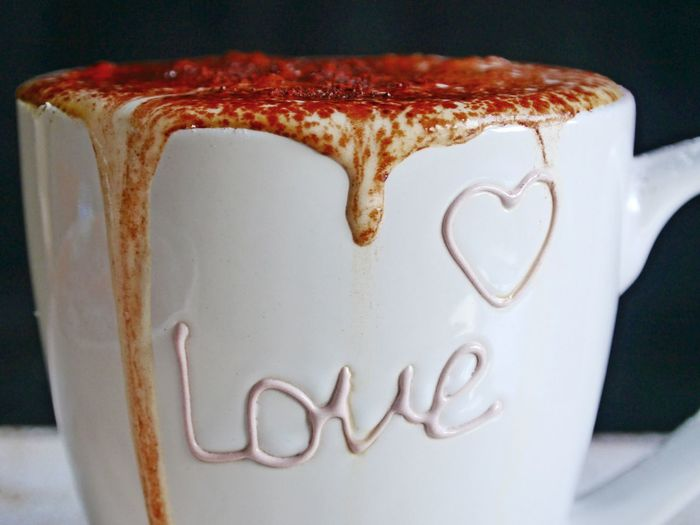 Love Text Valentine's Day  Close-up Coffee Cup Creamy Day Dessert Food Food And Drink Freshness Frothy Drink Indoors  Milk Foam No People Powdered Chocolate Ready To Drink Table