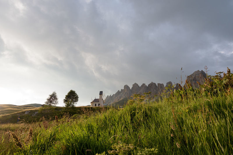 Tranquil Scene Landscape Grass Tranquility Sky Scenics Beauty In Nature Cloud - Sky Sella South Tyrol Alps Idyllic Chapel
