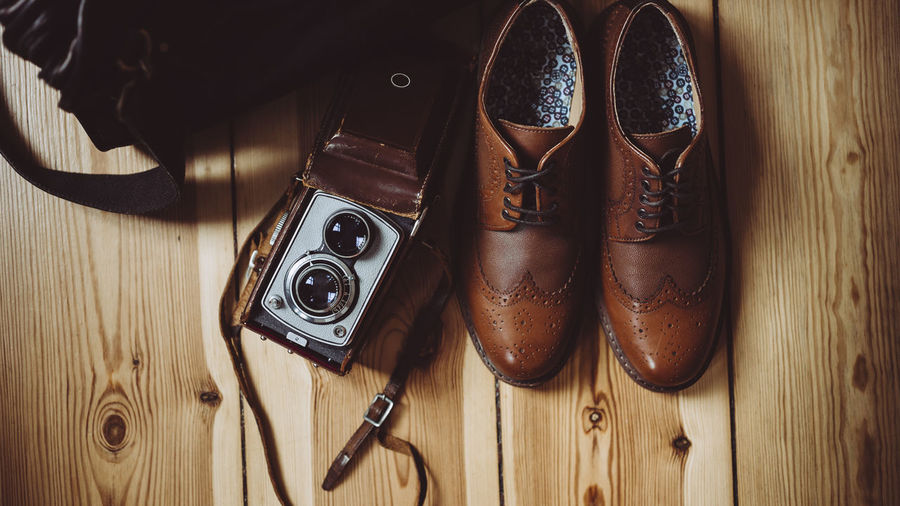 Fashion Home Life Leather Analog High Angle View Indoors  Lifestyles Medium Format No People Shoe Shoes Style Vintage Vintage Camera
