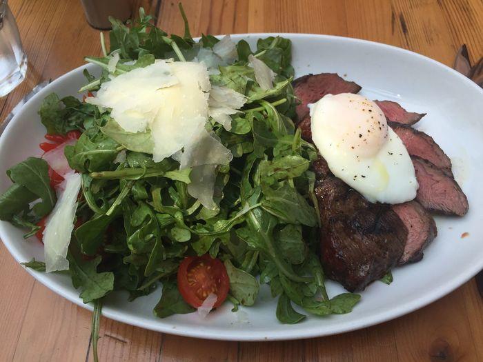 Flank steak, poached egg, arugula, balsamic dressing Foodspotting