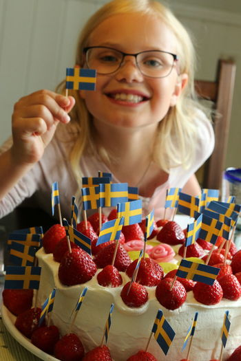 Sweden MADE IN SWEDEN Swedish Summer Flags Swedish Flag Cake Strawberry Strawberries Girl Happiness Happy Proud Midsummer Sverige Flagga Celebration Party EyeEm Best Shots