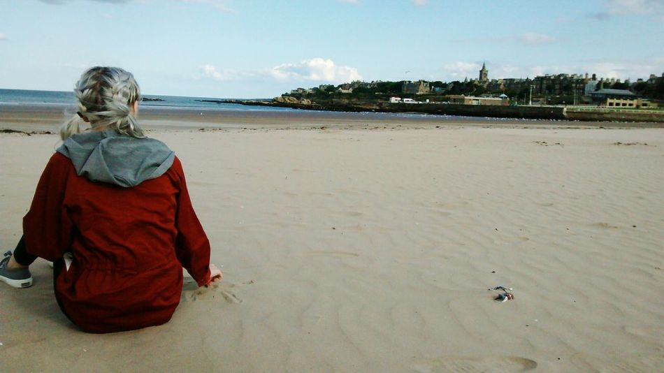 Sand Beach One Person Young Adult Sky Sea Pondering Taking In The View Taking In The Beautiful Scenery Scotland 💕