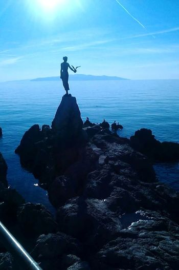 Opatija Opatija Sea 2013. 4YearsAgo Croatia ❤ Beauty Seagull Girl Djevojkasgalebom Girlwithaseagull Lovely Silhouette Sea Surreal Rock - Object One Person Strategy Horizon Over Water Water Sky Outdoors Day