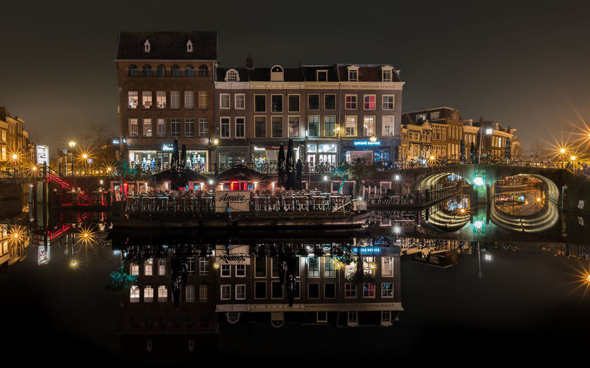 Leiden By Night Architecture City Colors Leiden Light Light Pollution Lights Netherlands Night Lights Nightphotography Reflection Terrace Winter Bridge Building Building Exterior Cafe Cafe Time Evening Holland Long Exposure Netherlands ❤ Night Water Waterfront