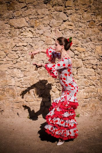 Andalucía Flamenco Spanish Woman Adult Adults Only Beauty Day One Person One Woman Only One Young Woman Only Only Women Outdoors People Red Smiling Standing Young Adult Young Women
