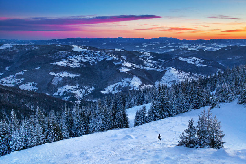 Winter landscapes from Rodnei Mountains, Romania. Frozen Ice National Park Nature Tree Winter Wintertime Beauty In Nature Clouds Cold Temperature Colorful Forest Landscape Mountain Mountain Range Outdoor Photography Purple Scenics Sky Snow Sunset Tranquil Scene Tranquility White