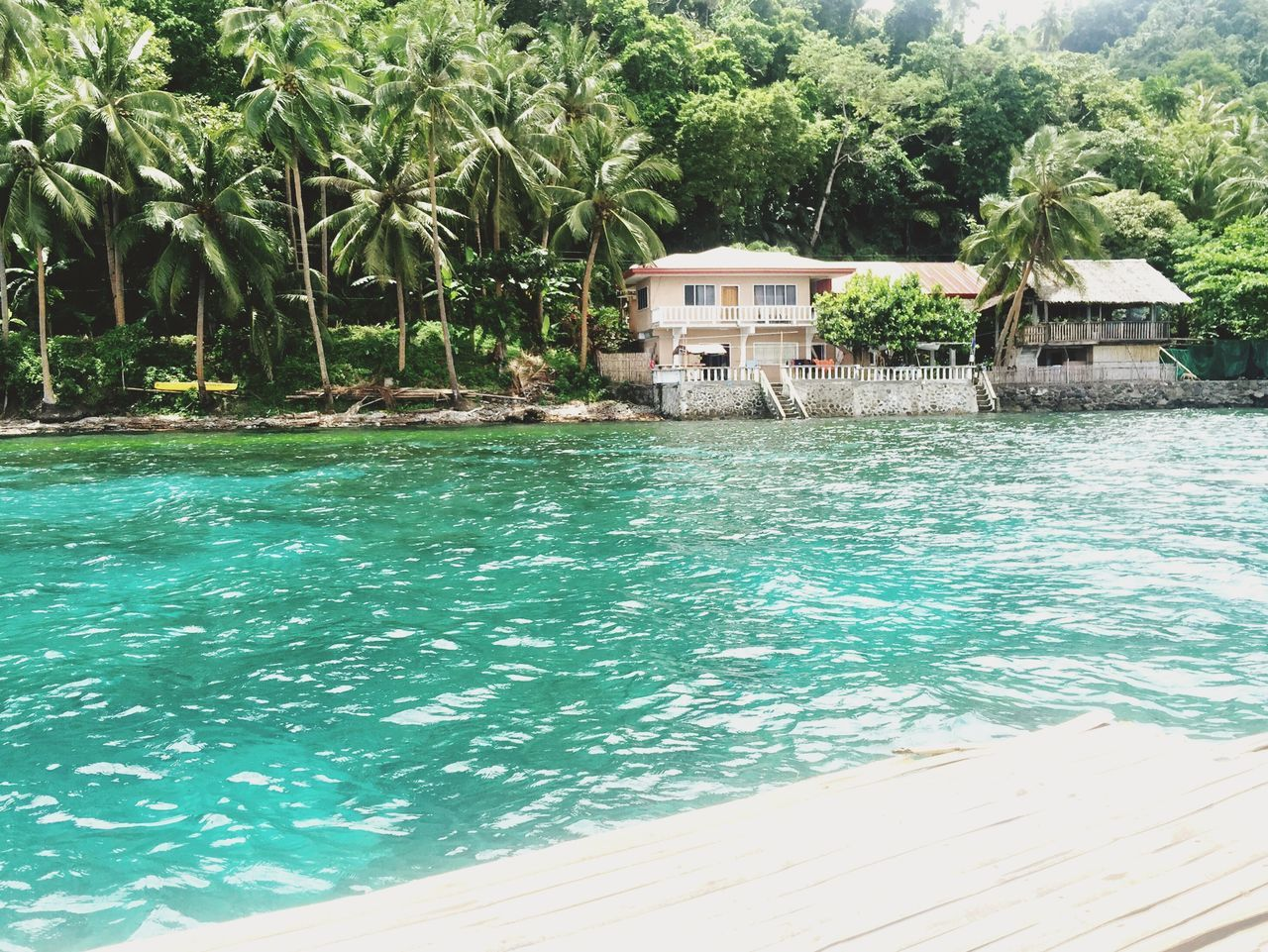 water, built structure, palm tree, sea, building exterior, architecture, tourist resort, house, day, outdoors, swimming pool, tropical climate, beauty in nature, tree, vacations, beach, stilt house, no people, nature, scenics, holiday villa, travel destinations