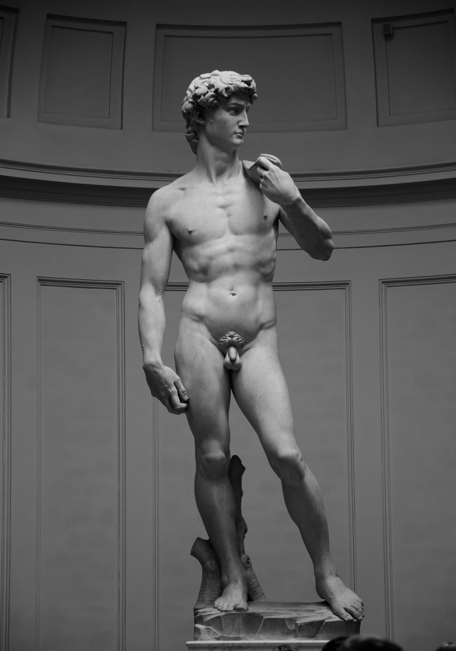 shirtless, human representation, statue, front view, one person, lifestyles, sculpture, young adult, full length, real people, indoors, day, muscular build