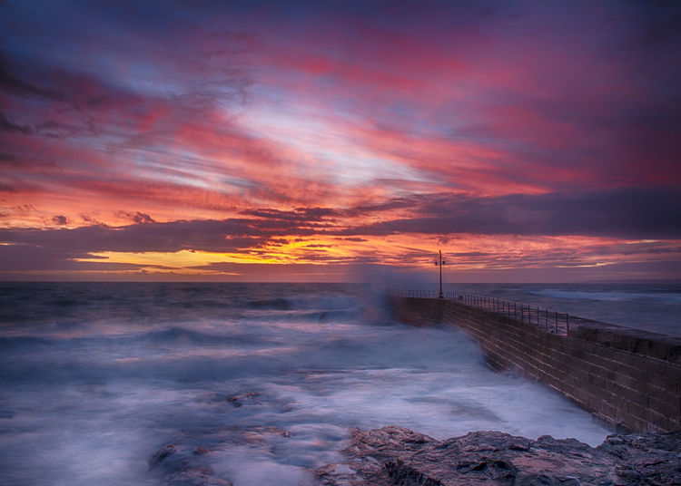 Beauty Beauty In Nature Breaking Waves Cloud - Sky Cornwall Dramatic Sky Horizon Over Water Landscape No People Outdoors Pier Porthleven Romantic Sky Scenics Sea Sky Sunset Water Wave Waves