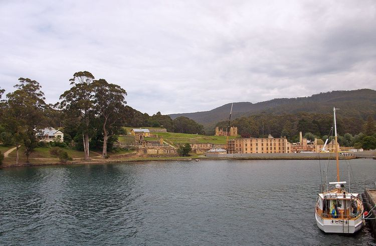 Architecture Cultures Day Harbor Moored Mountain Nautical Vessel No People Outdoors Passenger Craft Port Arthur Prison Ruins Sky Travel Destinations Under Construction... Water