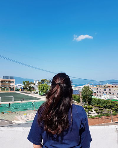 Korea YeosuEXPO Yeosu Blue Blue Mountain Sunshine Bright Colors Bright Summer Sky View From Above Rooftop View  Rooftop Water Young Women Sea Women Beach Sand Blue Sky Hair Toss