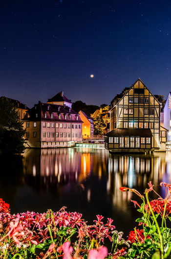 Nightphotography Architecture Astronomy Bamberg  Beauty In Nature Building Building Exterior Built Structure Flowers Germany House Illuminated Lake Moonlight Nature Night No People Outdoors Plant Reflection Residential District Sky Space Star Star - Space Water HUAWEI Photo Award: After Dark